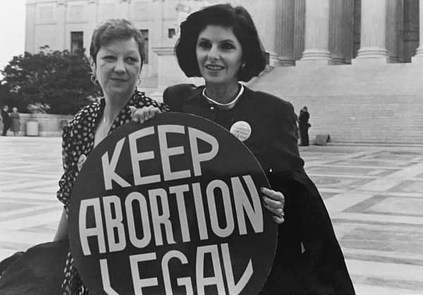 Gloria Allred with client Norma McCorvey who was Jane Roe in Roe v. Wade) in 1973. Lorie Shaull / Wikimedia Commons.