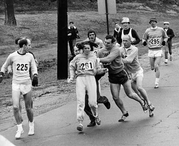 Kathrine Switzer attacked while running in the Boston Marathon in 1967