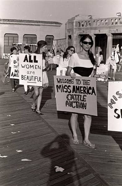 Women protesting the Miss America pageant in 1968. folkways.si.edu.